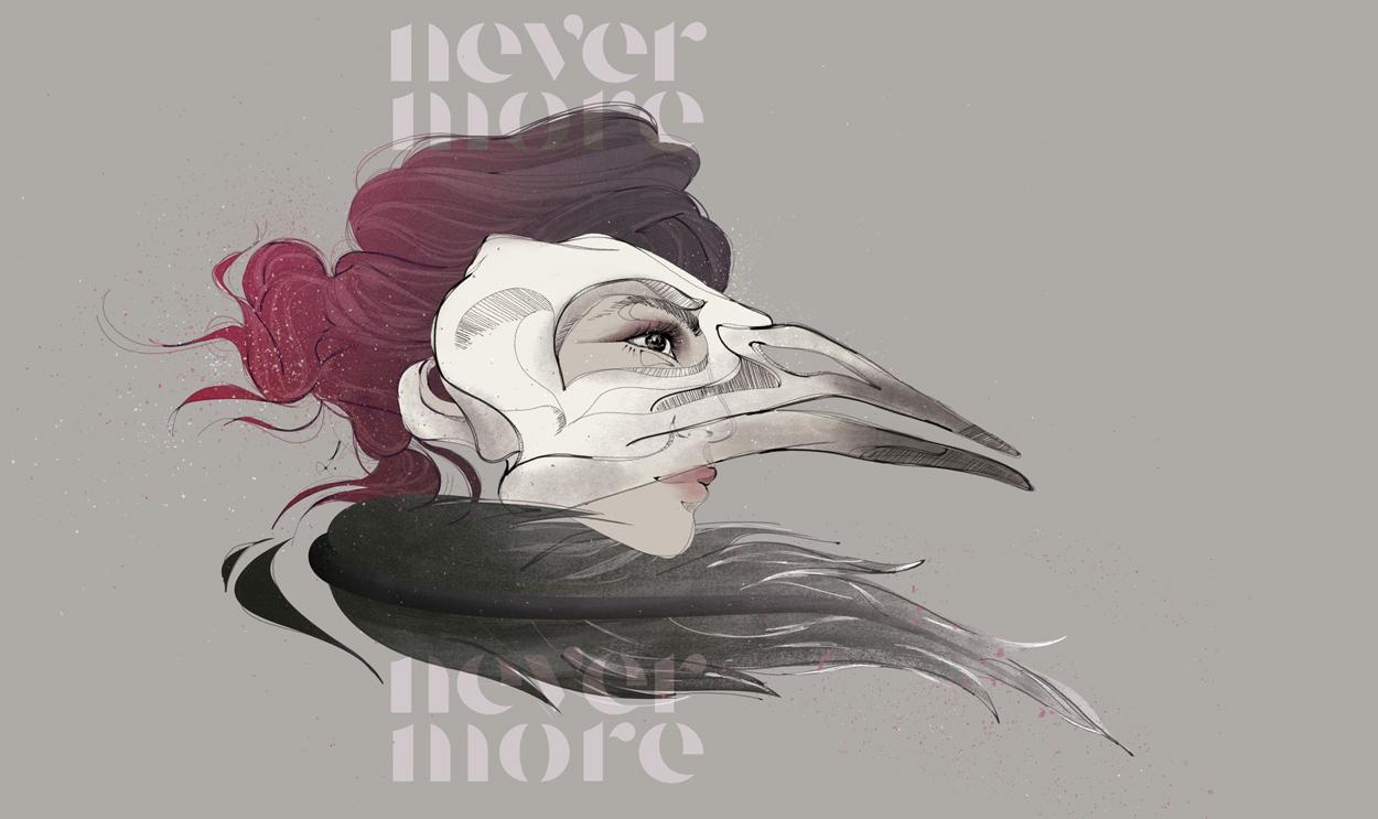 Ilustración de Laranoia inspirada en el poema de Edgar Allan Poe, The Raven