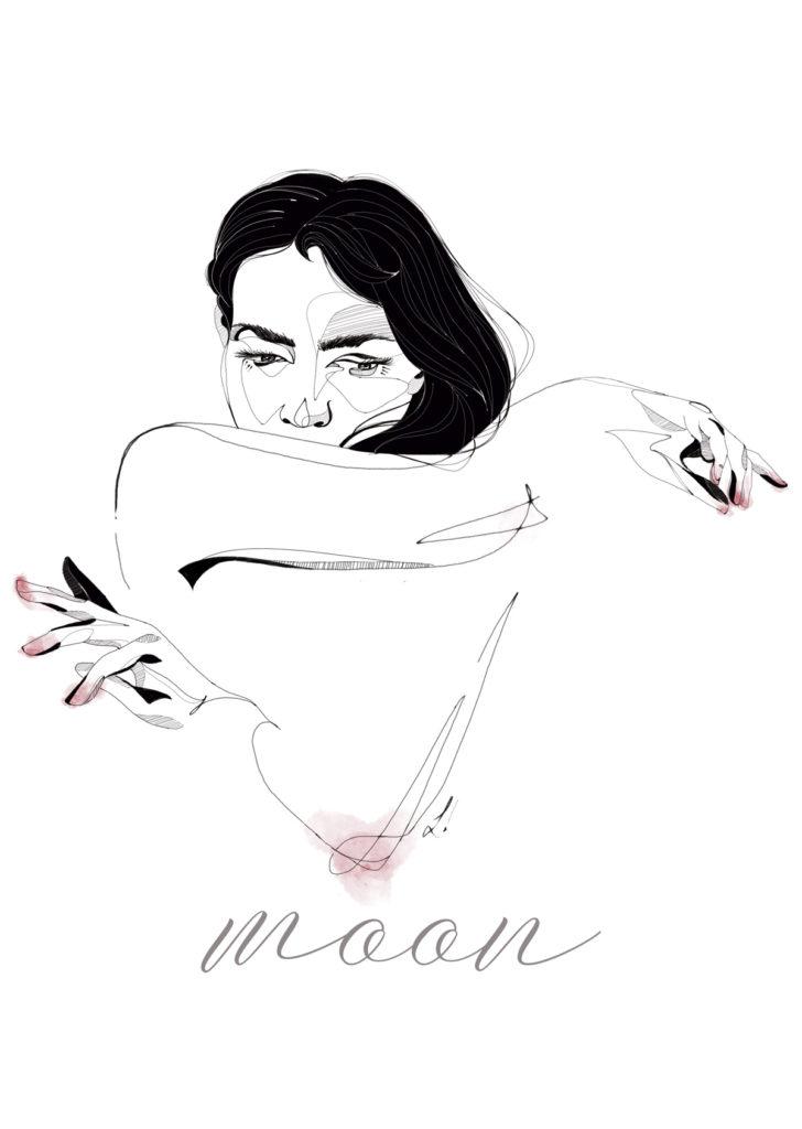 Moon, serie minimalista de ilustraciones sobre el movimiento y la expresividad femenina de Laranoia