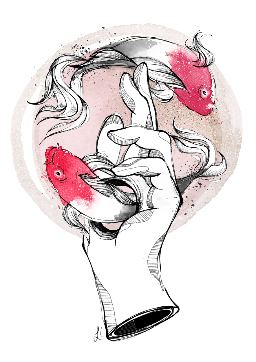 Akakuro, japan inspired illustration with koi fishes