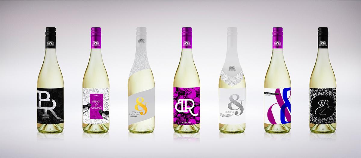 Propuestas para la etiqueta del vino de garnacha blanca de bodegas Carlos Valero Blanca y Radiante