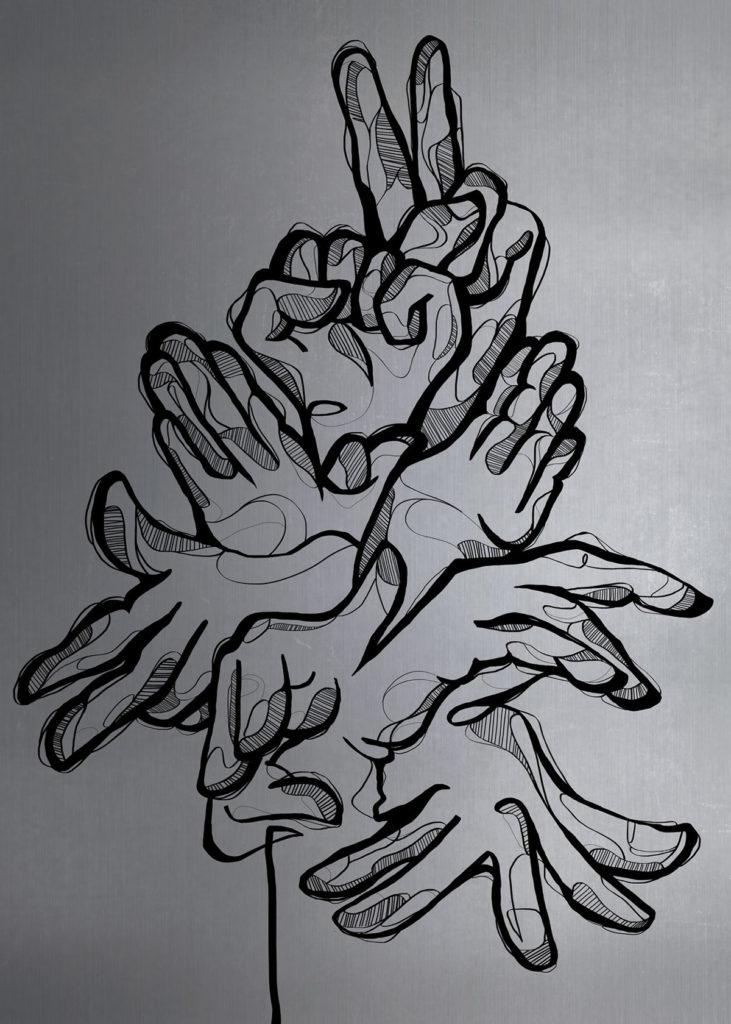 HandsTalk, conjunto de manos realizado durante el Ribazo Graff en Zaragoza