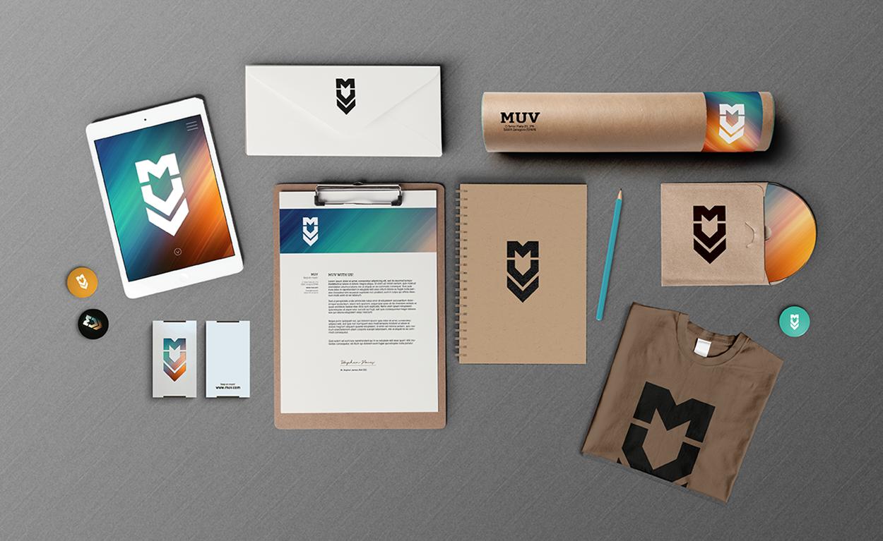 Diseño de papeleria y marca grafica de Laranoia para MUV, estudio audiovisual en Zaragoza
