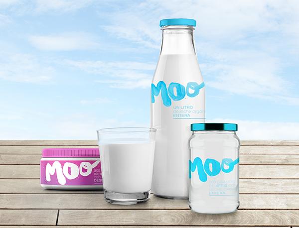 Branding para Moo, empresa familiar dedicada a productos lacteos de origen organico